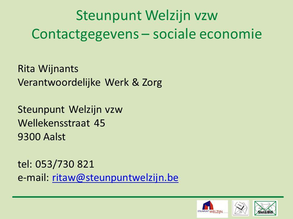 Steunpunt Welzijn vzw Contactgegevens – sociale economie