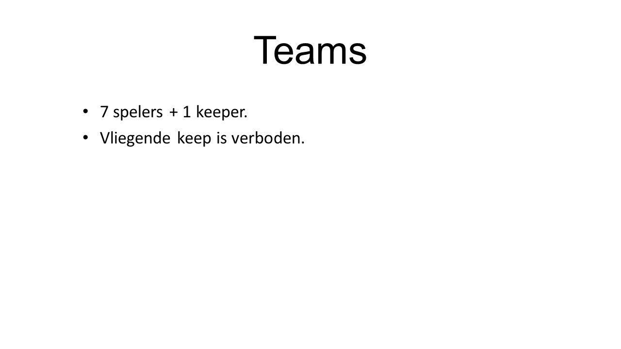 7 spelers + 1 keeper. Vliegende keep is verboden.