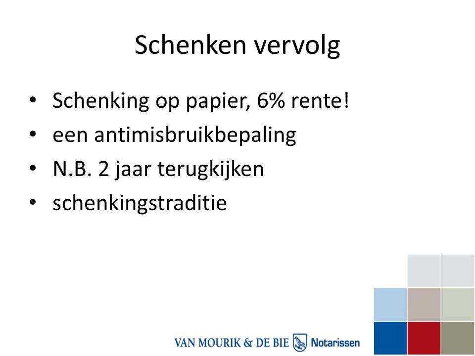 Schenken vervolg Schenking op papier, 6% rente!