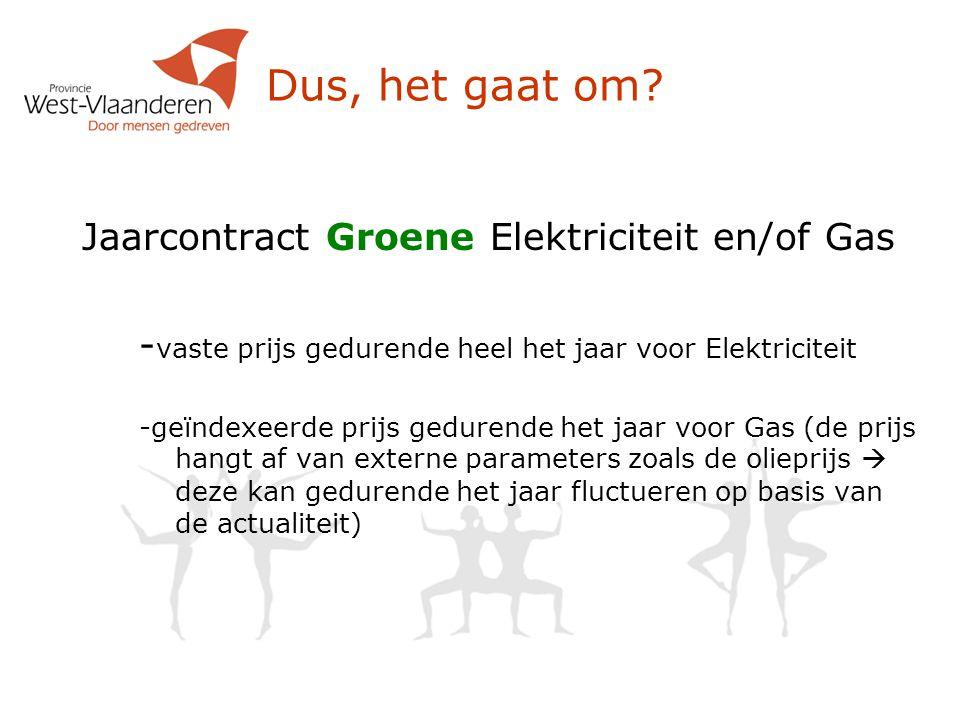 Dus, het gaat om Jaarcontract Groene Elektriciteit en/of Gas