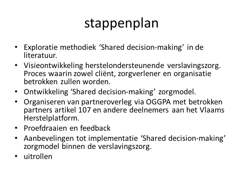 stappenplan Exploratie methodiek 'Shared decision-making' in de literatuur.