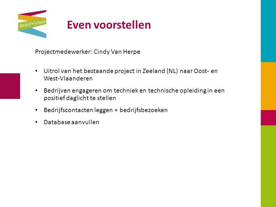 Even voorstellen Projectmedewerker: Cindy Van Herpe