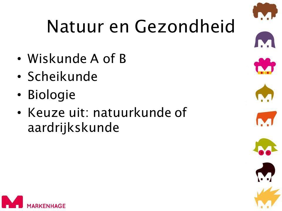 Natuur en Gezondheid Wiskunde A of B Scheikunde Biologie