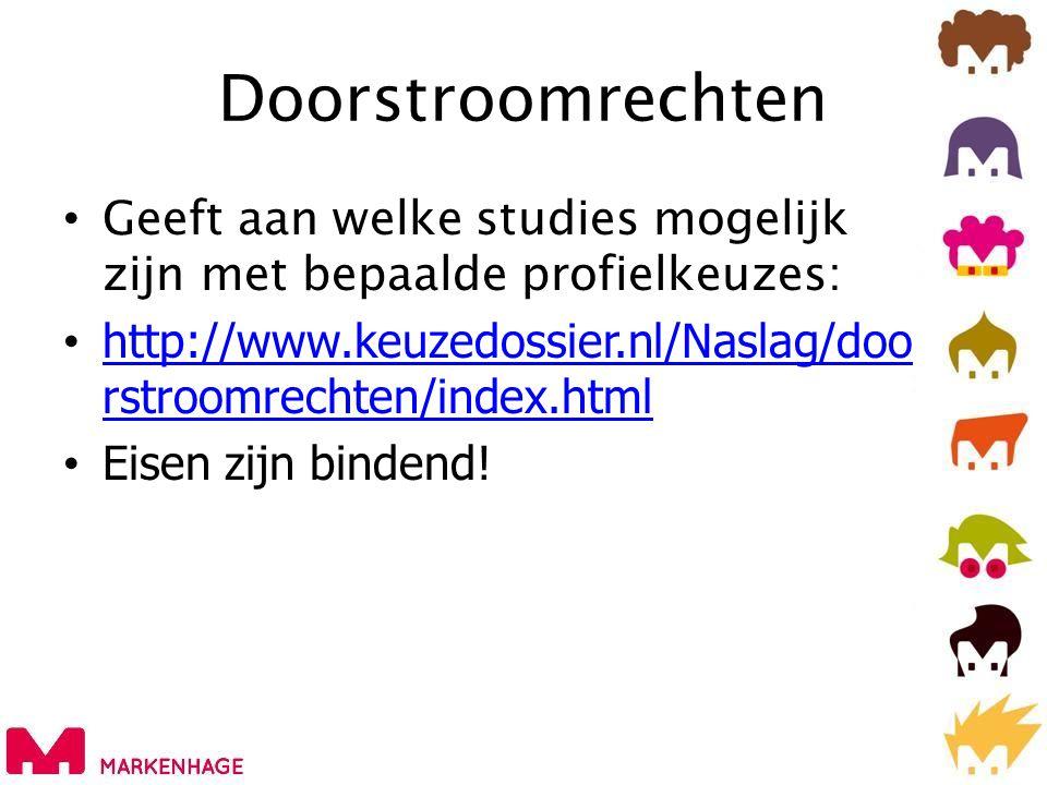 Doorstroomrechten Geeft aan welke studies mogelijk zijn met bepaalde profielkeuzes: http://www.keuzedossier.nl/Naslag/doorstroomrechten/index.html.