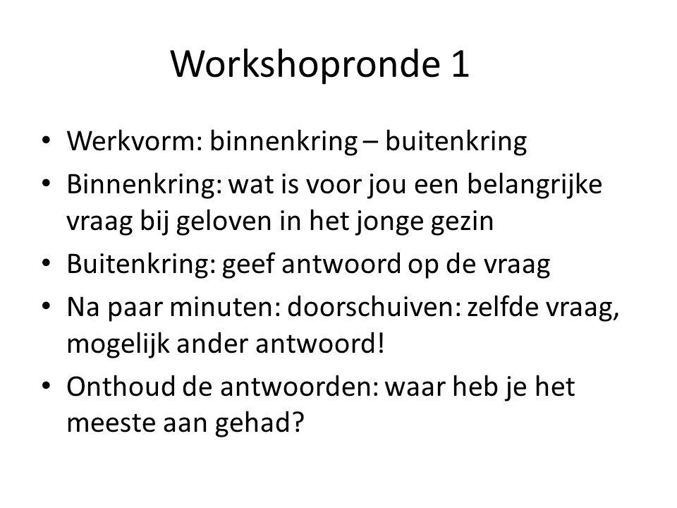 Workshopronde 1 Werkvorm: binnenkring – buitenkring