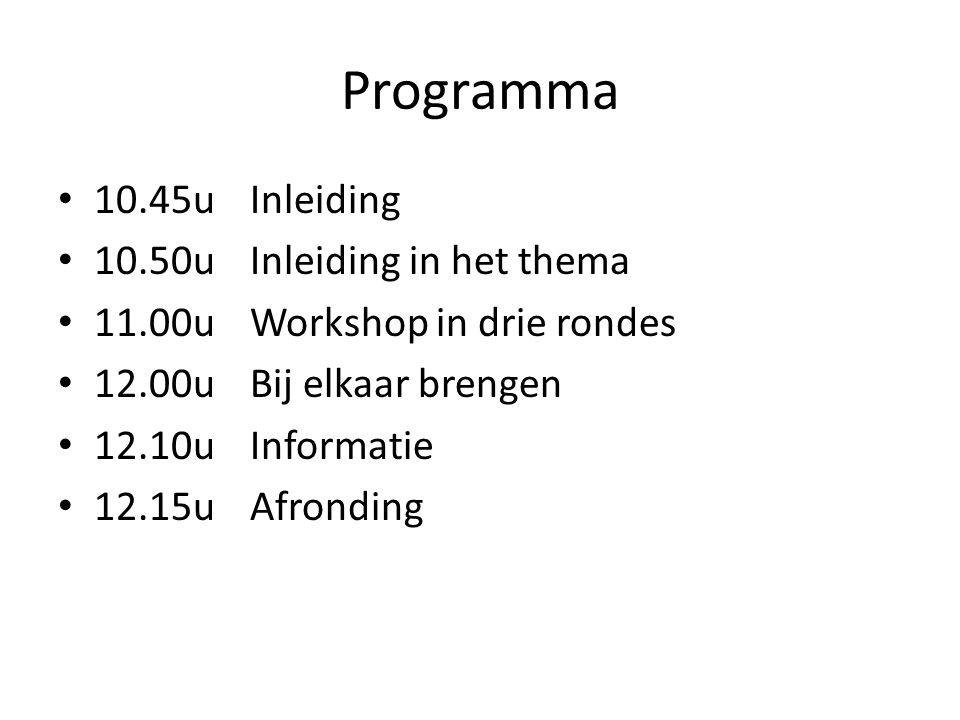 Programma 10.45u Inleiding 10.50u Inleiding in het thema