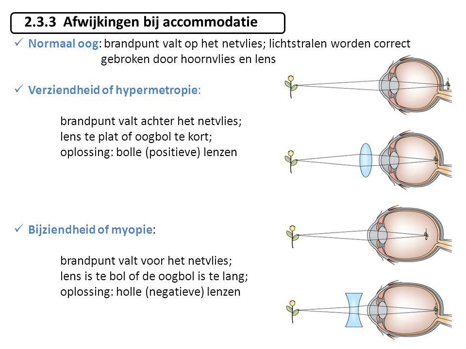 2.3.3 Afwijkingen bij accommodatie