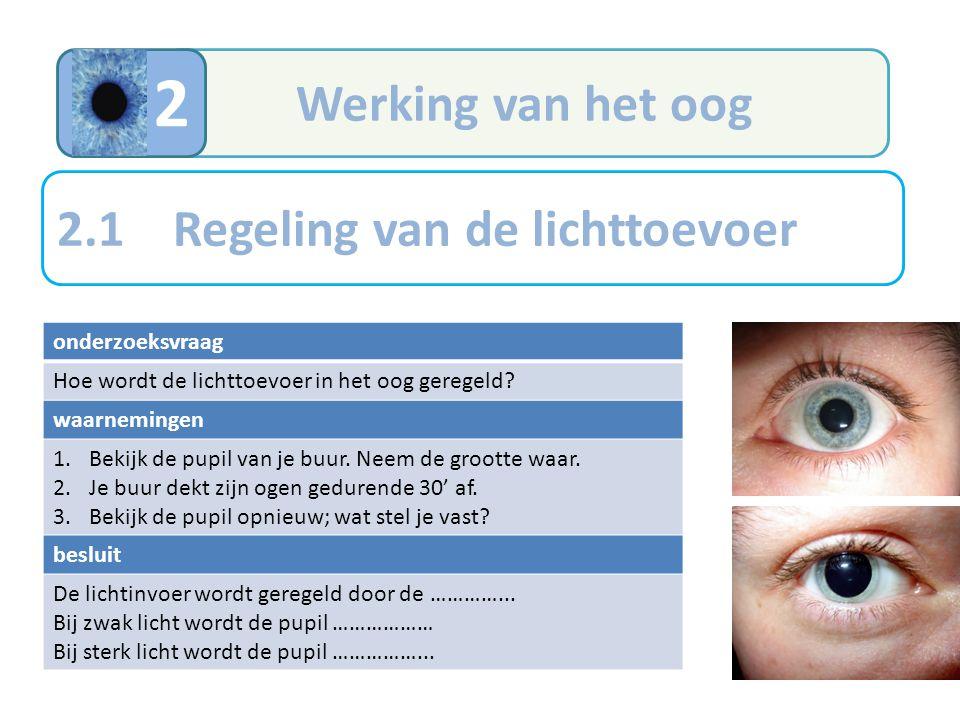 2 Werking van het oog 2.1 Regeling van de lichttoevoer onderzoeksvraag