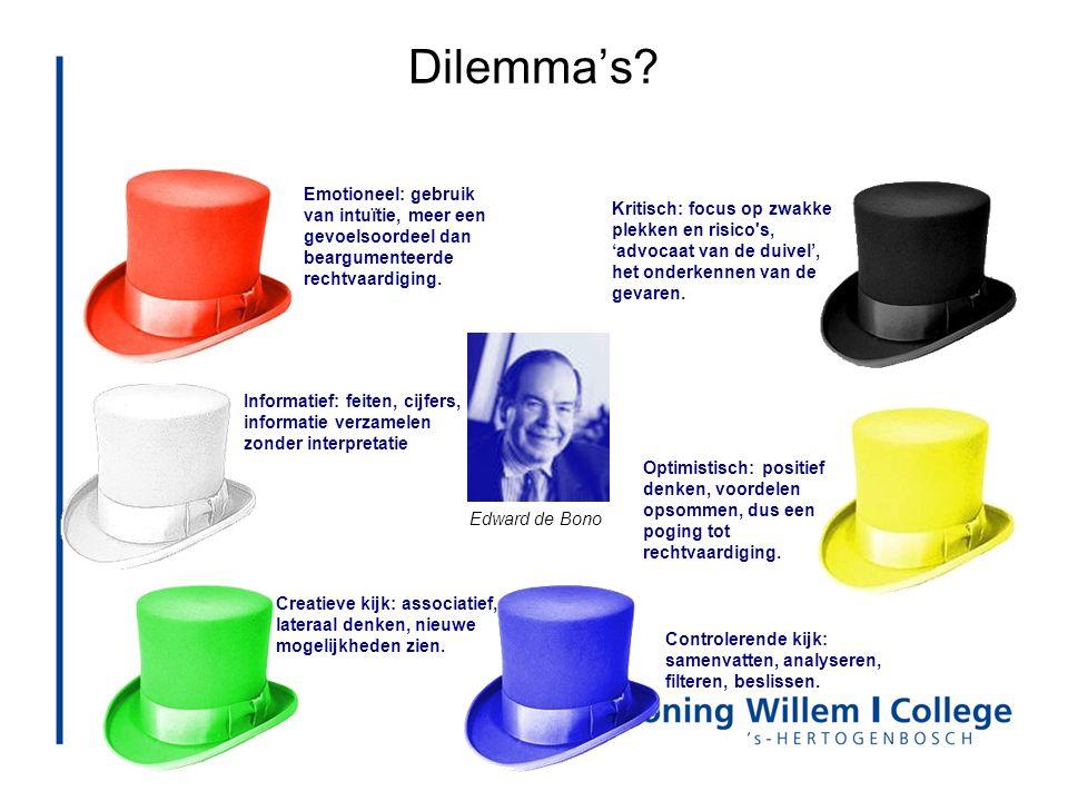Dilemma's Emotioneel: gebruik van intuïtie, meer een gevoelsoordeel dan beargumenteerde rechtvaardiging.