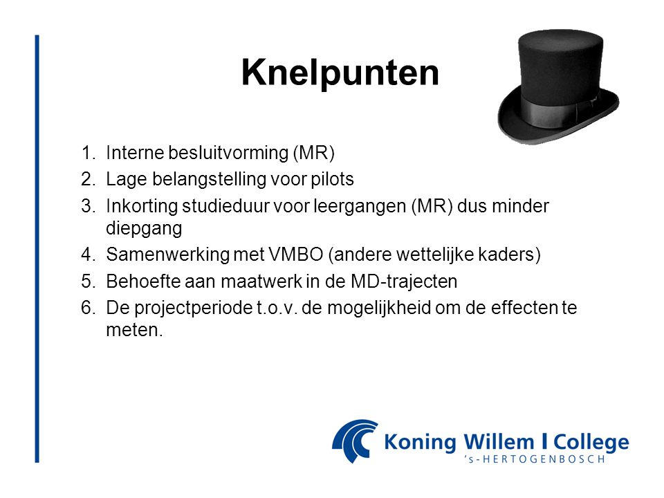 Knelpunten Interne besluitvorming (MR) Lage belangstelling voor pilots