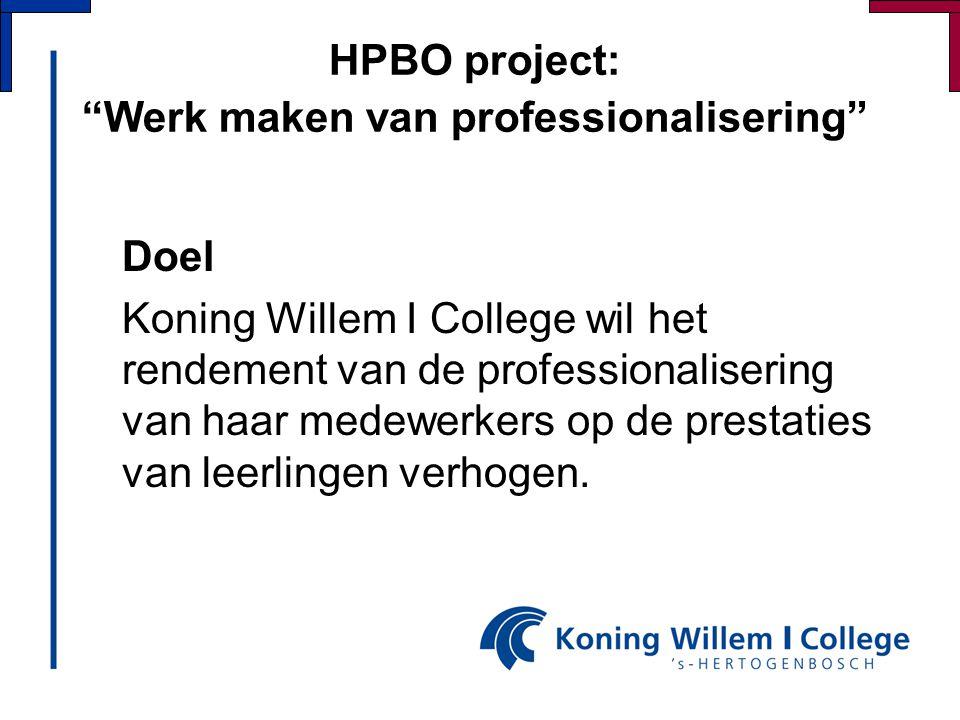 HPBO project: Werk maken van professionalisering