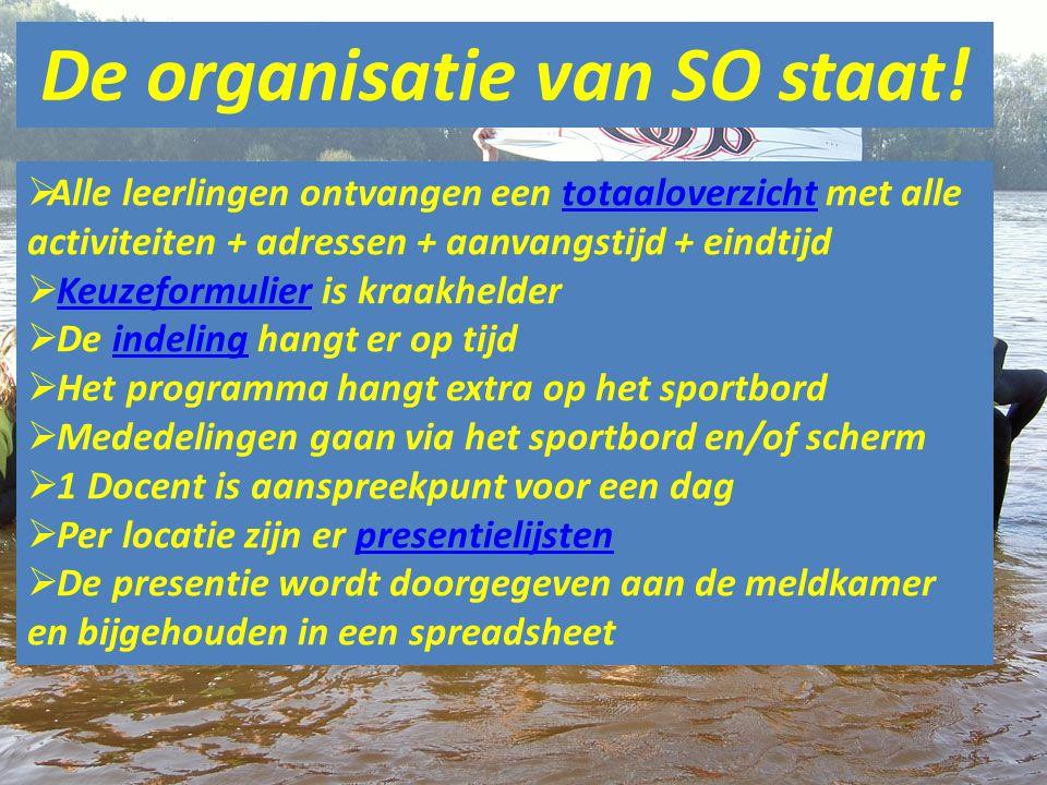 De organisatie van SO staat!
