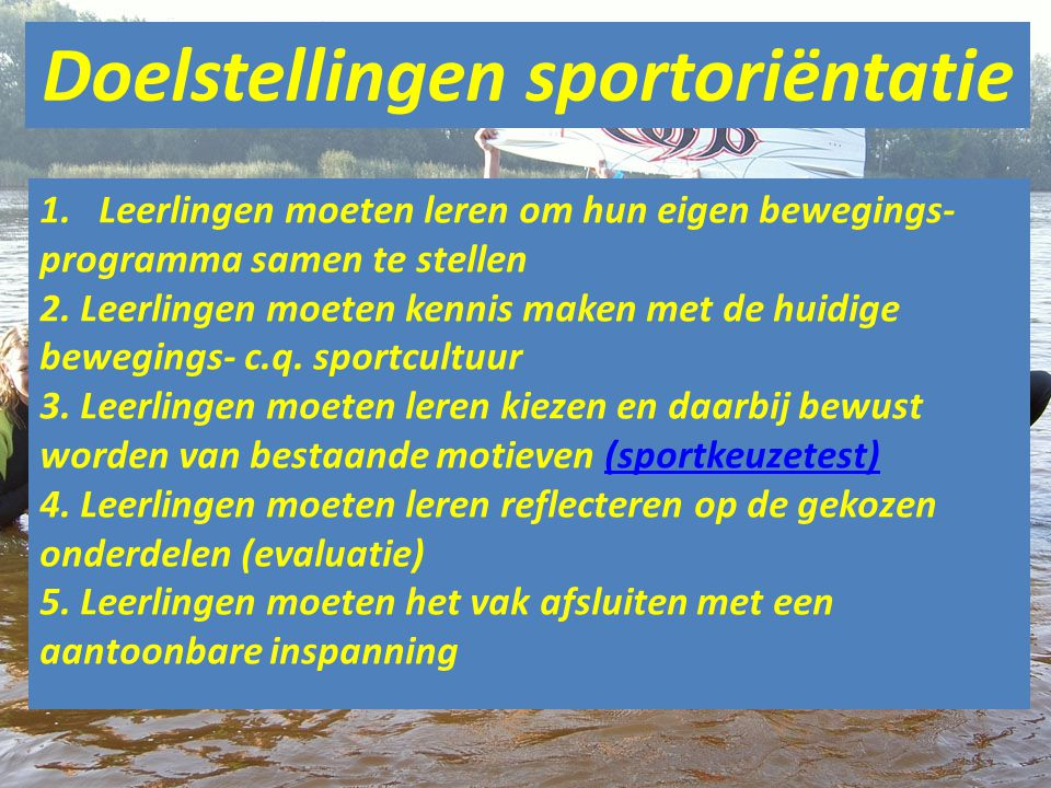 Doelstellingen sportoriëntatie