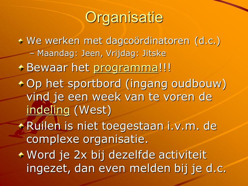 Organisatie Bewaar het programma!!!