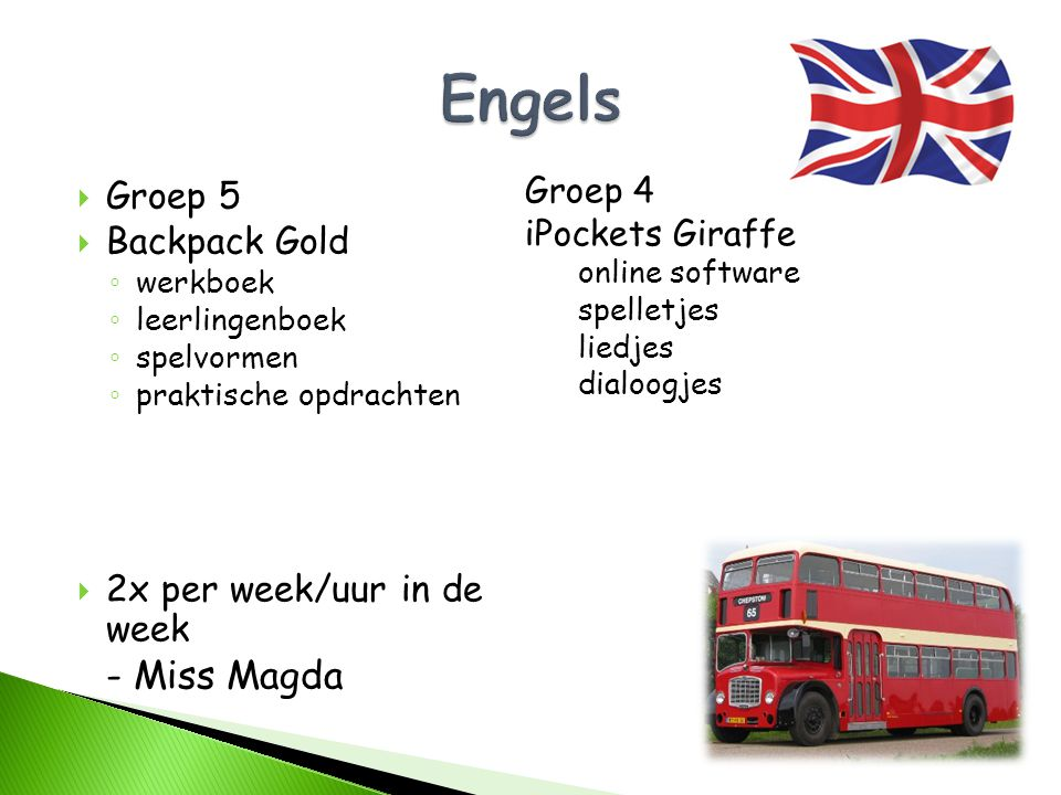 Engels Groep 5 Backpack Gold 2x per week/uur in de week - Miss Magda