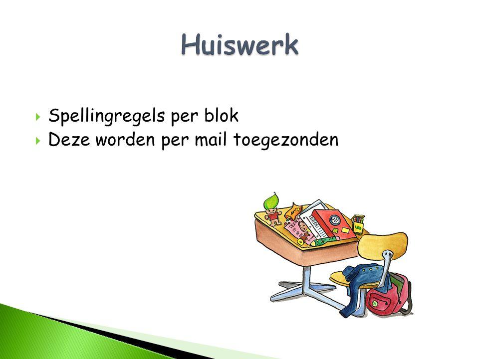 Huiswerk Spellingregels per blok Deze worden per mail toegezonden