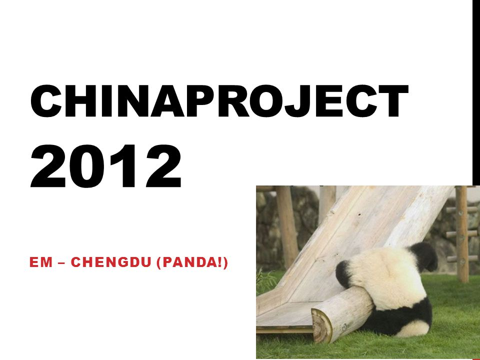 Chinaproject 2012 EM – ChengDu (Panda!)