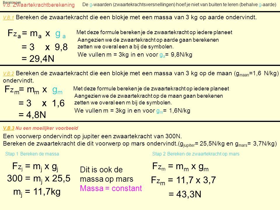 Fz = m x g a a a = 3 X 9,8 = 29,4N Fz = m x g m m m = 3 X 1,6 = 4,8N