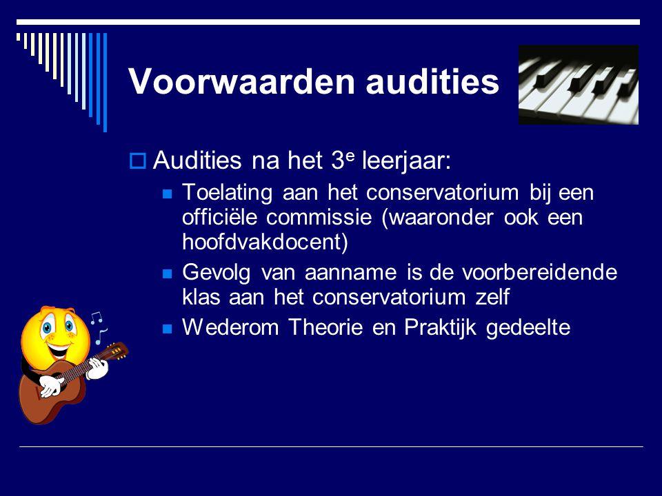 Voorwaarden audities Audities na het 3e leerjaar: