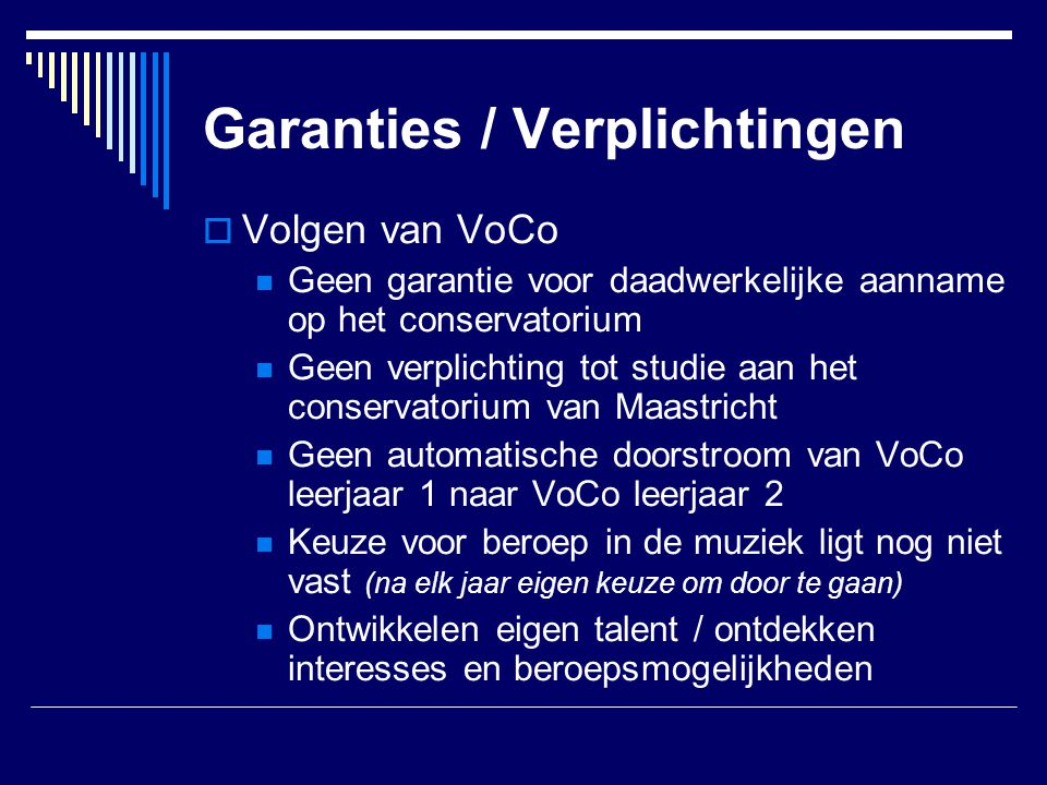 Garanties / Verplichtingen