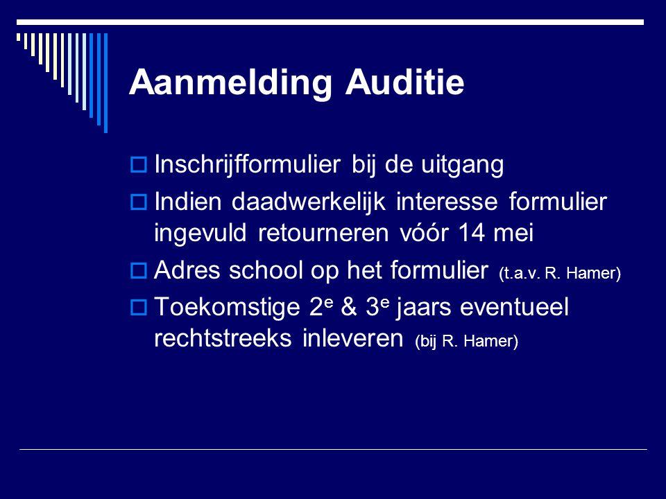 Aanmelding Auditie Inschrijfformulier bij de uitgang