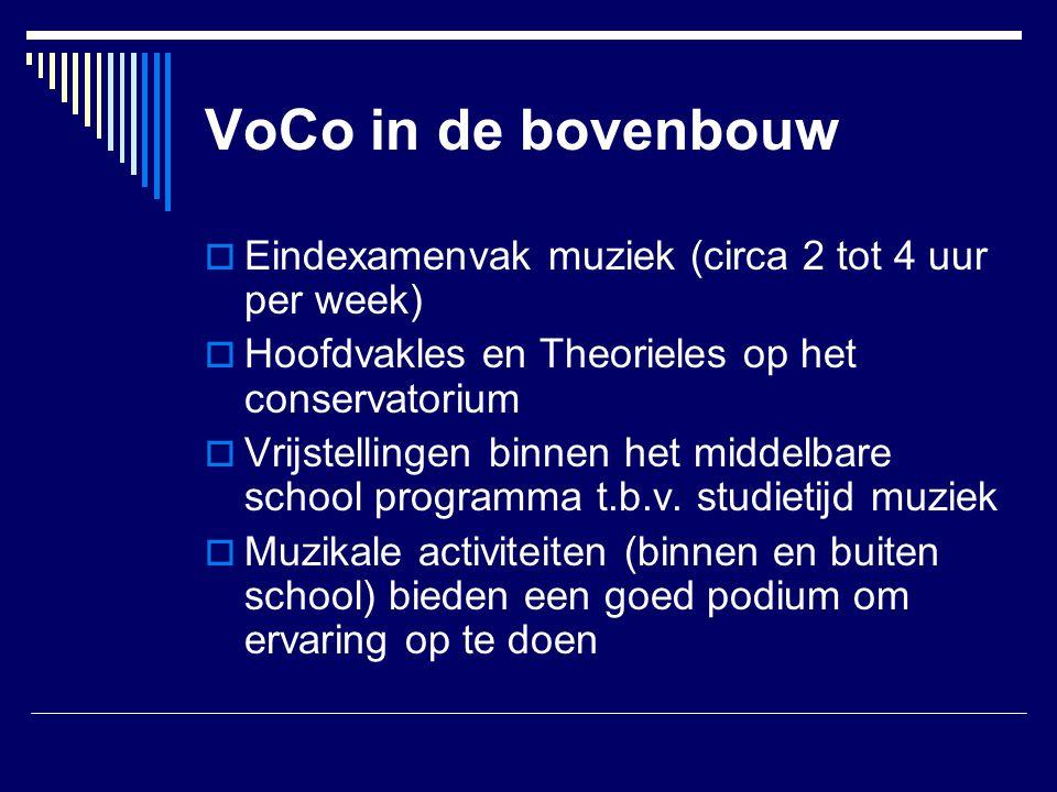 VoCo in de bovenbouw Eindexamenvak muziek (circa 2 tot 4 uur per week)