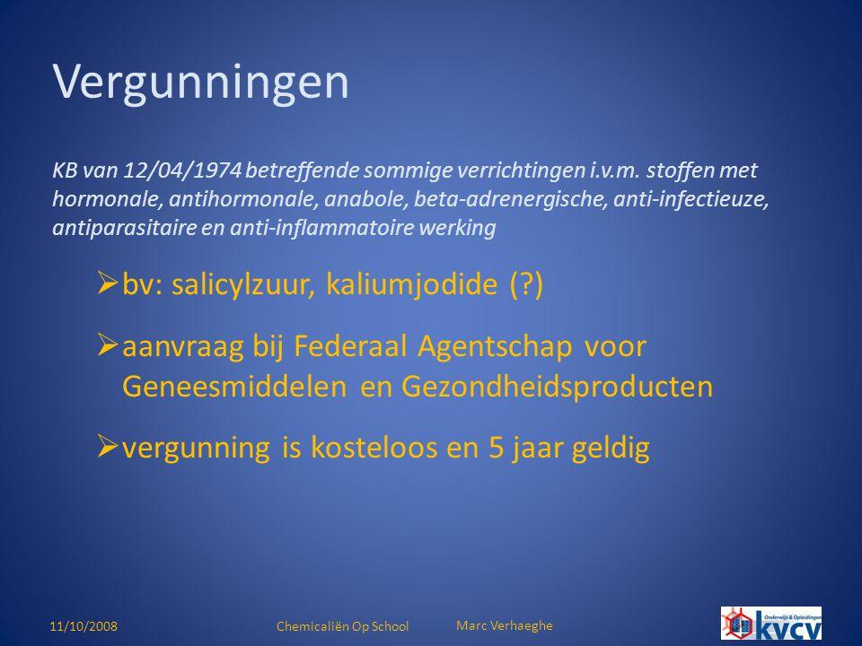 Vergunningen bv: salicylzuur, kaliumjodide ( )