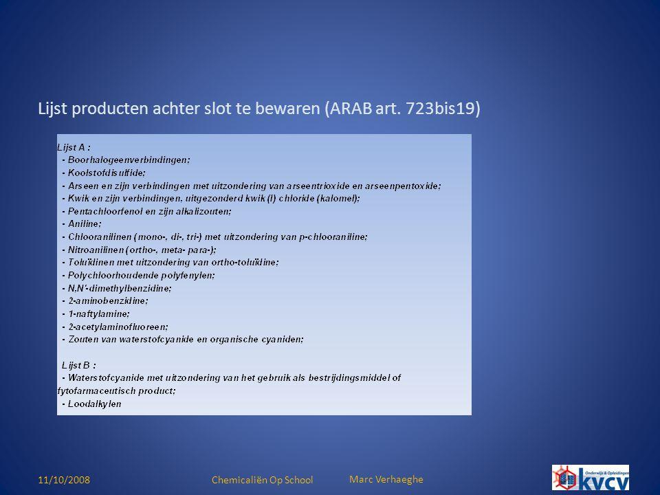 Lijst producten achter slot te bewaren (ARAB art. 723bis19)