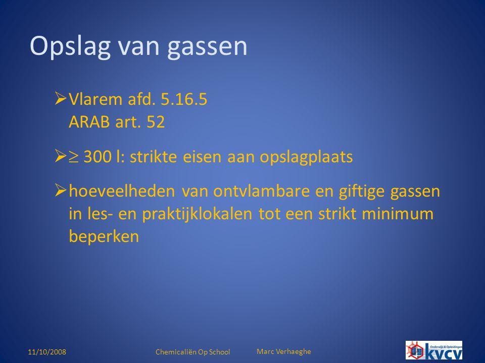 Opslag van gassen Vlarem afd. 5.16.5 ARAB art. 52