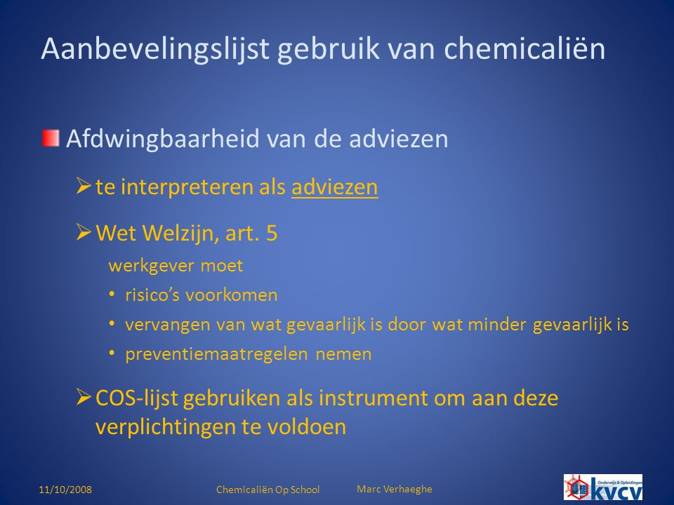 Aanbevelingslijst gebruik van chemicaliën
