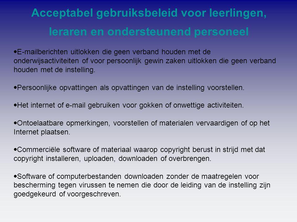 Acceptabel gebruiksbeleid voor leerlingen, leraren en ondersteunend personeel
