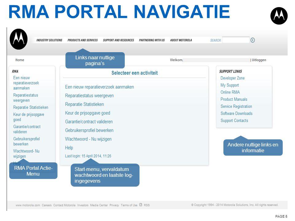 RMA PORTAL NAVIGATIE Links naar nuttige pagina's