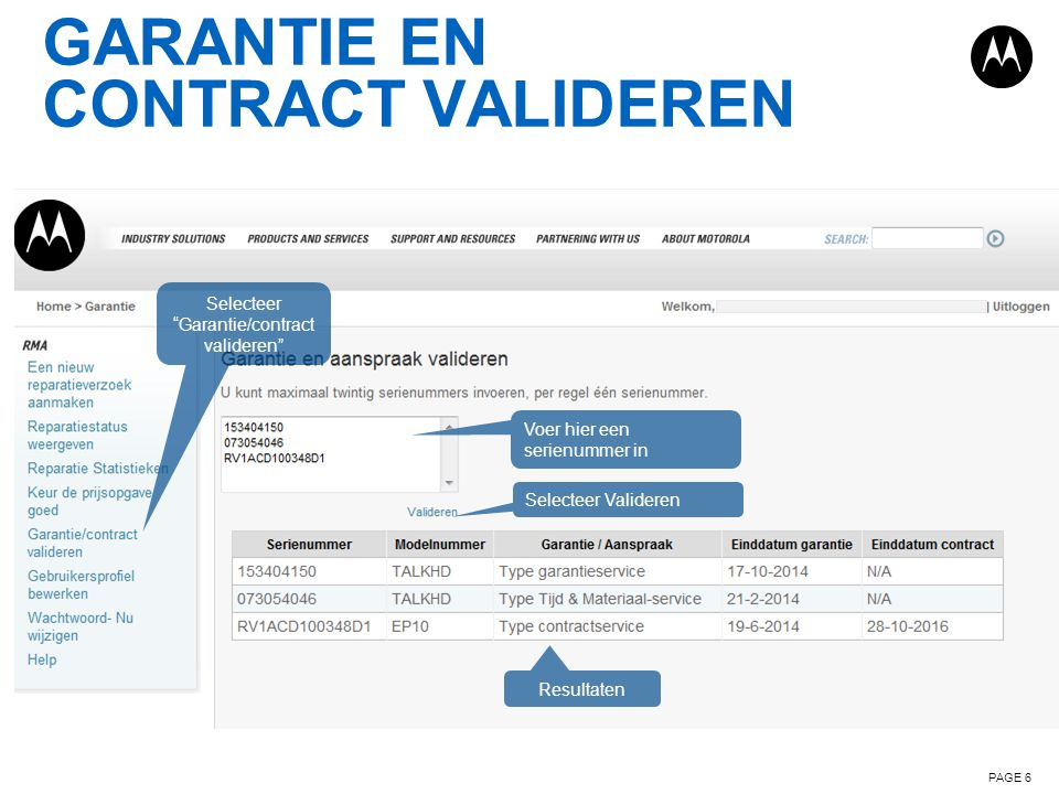 Garantie en contract valideren