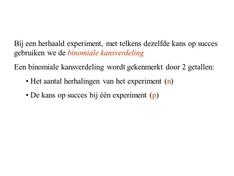 Bij een herhaald experiment, met telkens dezelfde kans op succes gebruiken we de binomiale kansverdeling