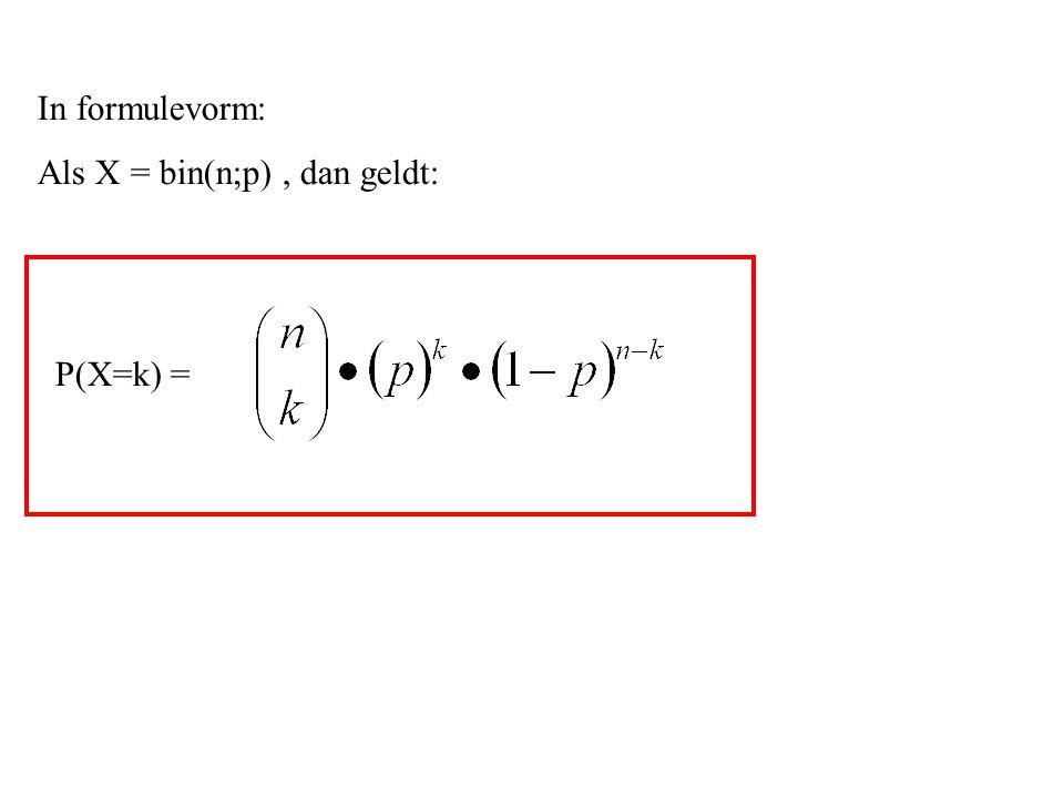 In formulevorm: Als X = bin(n;p) , dan geldt: P(X=k) =
