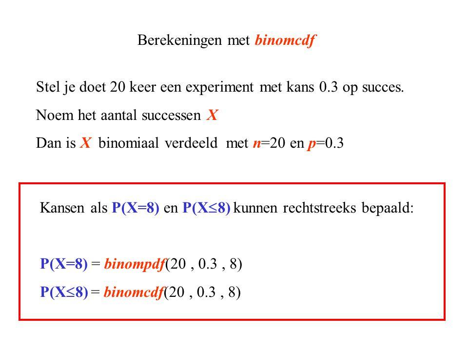 Berekeningen met binomcdf