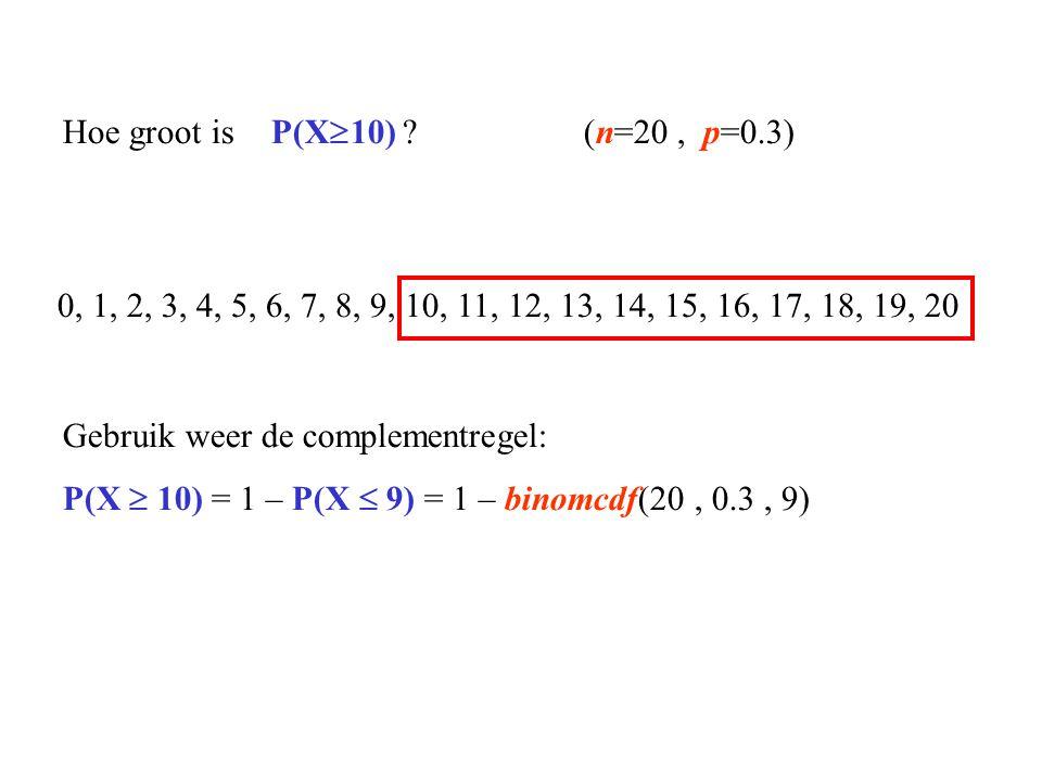 Hoe groot is P(X10) (n=20 , p=0.3)