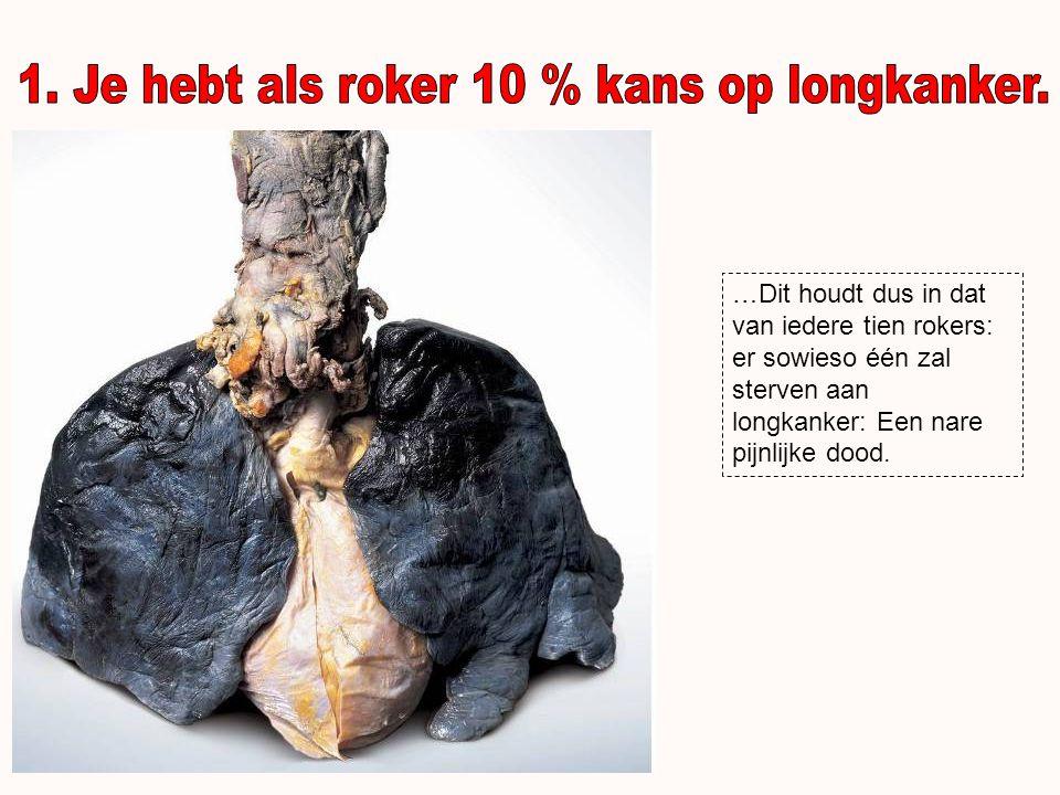 1. Je hebt als roker 10 % kans op longkanker.