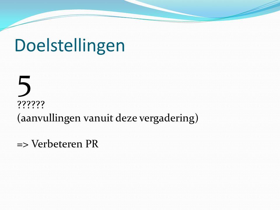 5 Doelstellingen (aanvullingen vanuit deze vergadering)