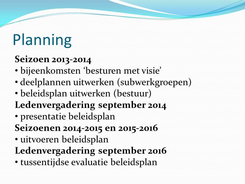 Planning Seizoen 2013-2014 bijeenkomsten 'besturen met visie'