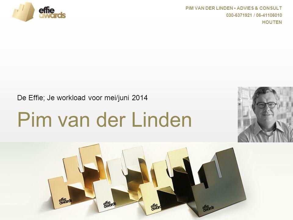 Pim van der Linden De Effie; Je workload voor mei/juni 2014