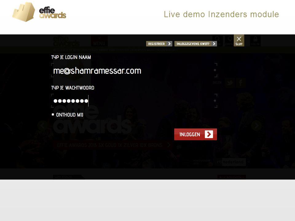 Live demo Inzenders module