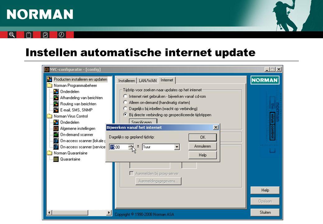 Instellen automatische internet update