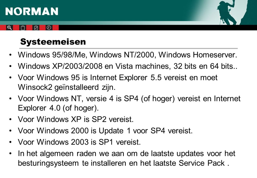 Systeemeisen Windows 95/98/Me, Windows NT/2000, Windows Homeserver.