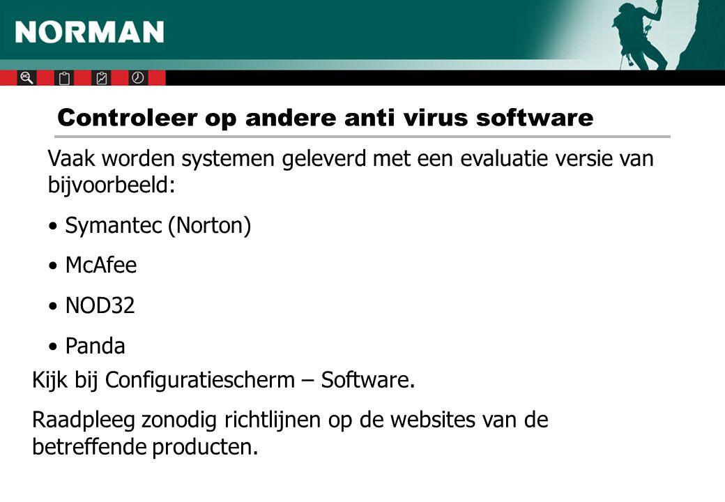 Controleer op andere anti virus software