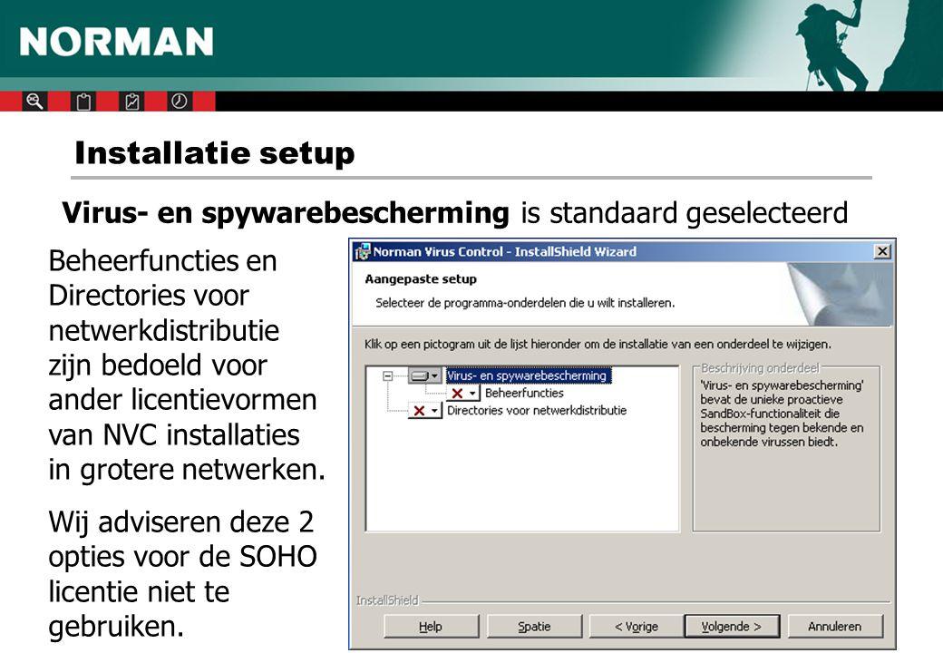 Installatie setup Virus- en spywarebescherming is standaard geselecteerd.
