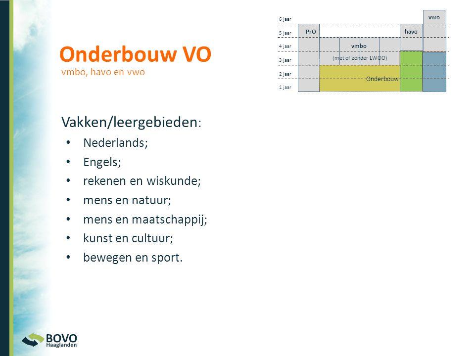 Onderbouw VO Vakken/leergebieden: Nederlands; Engels;