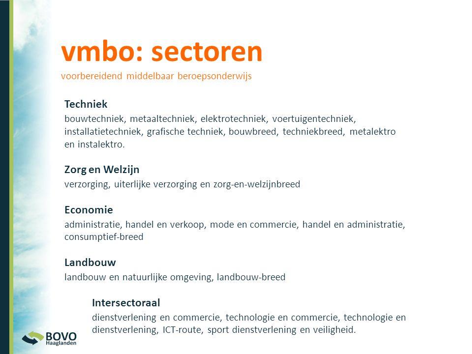 vmbo: sectoren voorbereidend middelbaar beroepsonderwijs
