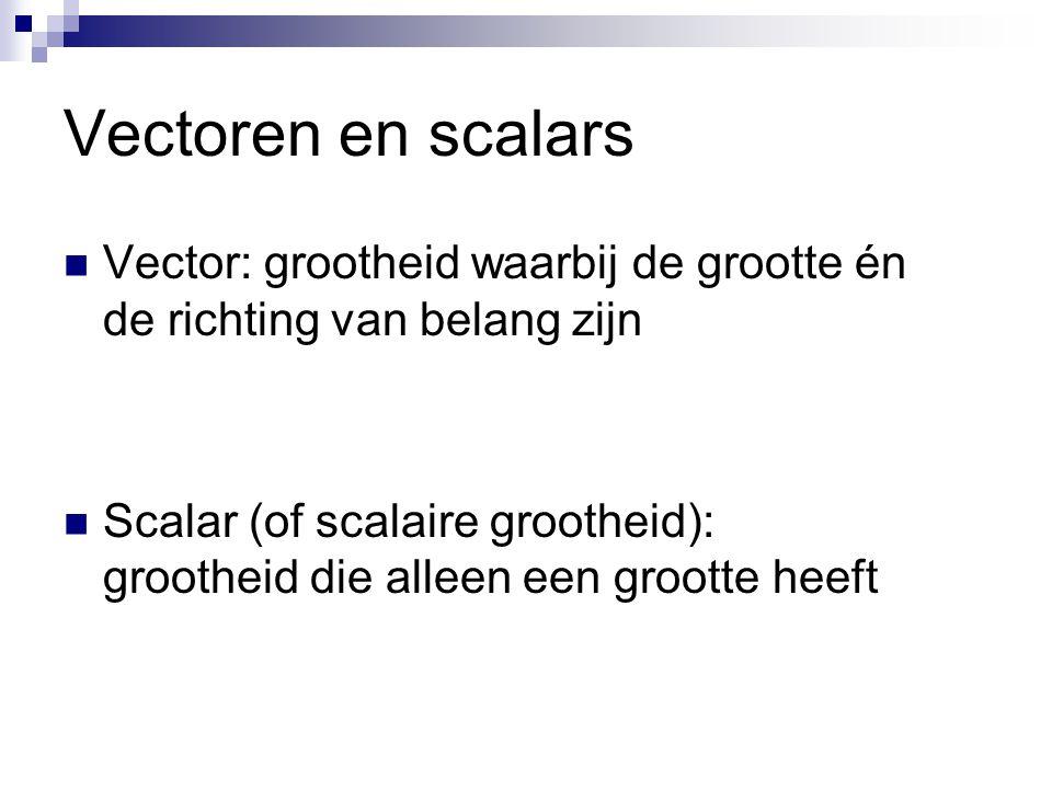 Vectoren en scalars Vector: grootheid waarbij de grootte én de richting van belang zijn.