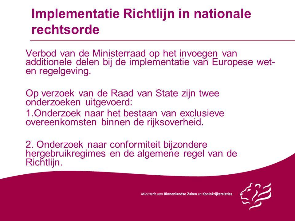 Implementatie Richtlijn in nationale rechtsorde